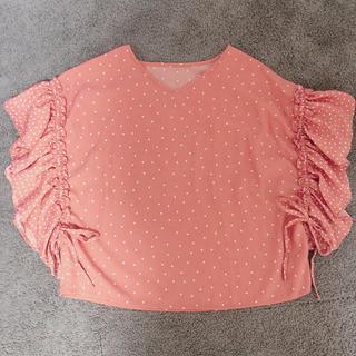 トップス ドット フリル  リボン ブラウス カットソー  tシャツ(Tシャツ/カットソー)