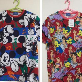 ディズニー(Disney)のDisney ミッキー&アリエル2枚組Tシャツセット(大人サイズ)(Tシャツ(半袖/袖なし))