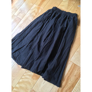サマンサモスモス  sm2綿麻コットンリネンロングスカート ブラック グレー(ロングスカート)