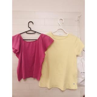 ザラキッズ(ZARA KIDS)のZARAキッズ Tシャツ トップス ピンク イエロー 2枚セット(Tシャツ/カットソー)