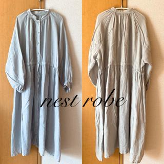 nest Robe - nest robe ネストローブ リネンギャザースモックワンピース サックス