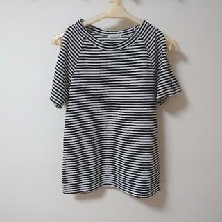 ジーユー(GU)のguレディースボーダーTシャツ オープンショルダー(Tシャツ(半袖/袖なし))