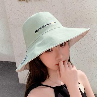 大人帽子 刺繍帽子 両面帽子日焼け止め(ハット)