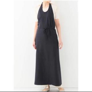 ユナイテッドアローズ(UNITED ARROWS)のbaserange raw silk apron dress ブラック(ロングワンピース/マキシワンピース)