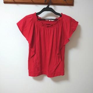 ジーユー(GU)のguフリル袖Tシャツ 2wayオフショルトップス(Tシャツ(半袖/袖なし))
