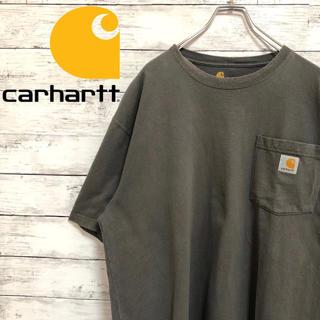 カーハート(carhartt)の【超人気】カーハート☆ロゴタグ XLサイズ相当 グレー ポケット 半袖Tシャツ(Tシャツ/カットソー(半袖/袖なし))