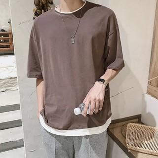 今期大人気 レイヤード オーバーサイズTシャツ 韓国ファッションメンズレディース(Tシャツ/カットソー(半袖/袖なし))