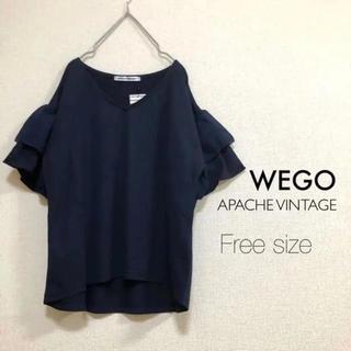 ウィゴー(WEGO)のWEGO⭐️新品⭐️フリル袖カットソー ネイビー(カットソー(半袖/袖なし))