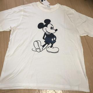 ディズニー(Disney)の新品タグ付 ミッキーマウス  Tシャツ  3Lサイズ ビッグサイズ ホワイト(Tシャツ/カットソー(半袖/袖なし))