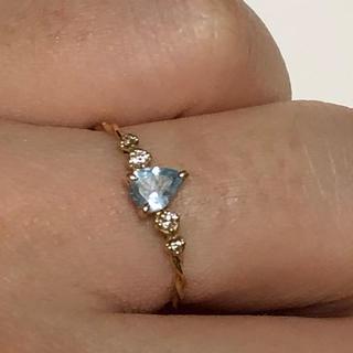 ブルーム(BLOOM)のK18YG アクアマリン ダイアモンド 9号(リング(指輪))