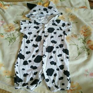 ニシマツヤ(西松屋)の牛柄フード付き半袖ロンパース☆50〜60cm(ロンパース)
