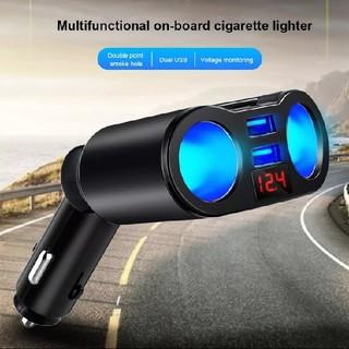 限定値引!【ブラック】シガーソケット/USB×2ポート 電圧表示付(車内アクセサリ)