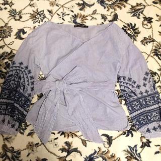 ZARA - 美品 ザラ  シャツ カシュクール ストライプ 刺繍 春 夏 ウエストマーク