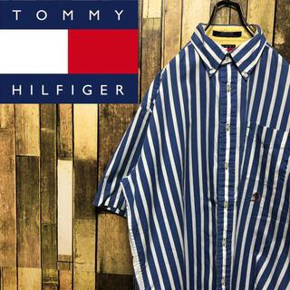 トミーヒルフィガー(TOMMY HILFIGER)の【トミーヒルフィガー】オールド刺繍半袖☆ボールドストライプシャツ 90s(シャツ)
