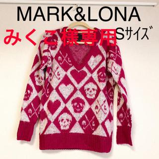 マークアンドロナ(MARK&LONA)のMARK&LONAゴルフウェア トップス スカルニット セーター ピンク S(ウエア)
