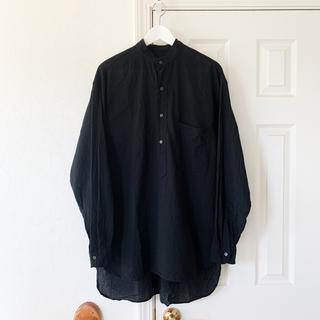 COMOLI - COMOLI コモリ ベタシャン プルオーバーシャツ ブラック 黒 サイズ2