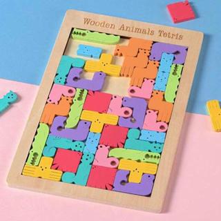 【在庫処分セール】知育玩具 動物型テトリスジグソーパズル