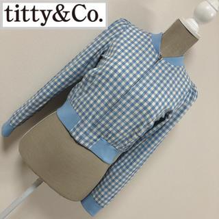 ティティアンドコー(titty&co)のtitty&Co. ギンガムチェック柄ブルゾン ブルー(ブルゾン)