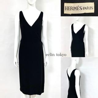 Hermes - エルメス マルジェラ期 Vネック ノースリーブ ワンピース 黒 E1190