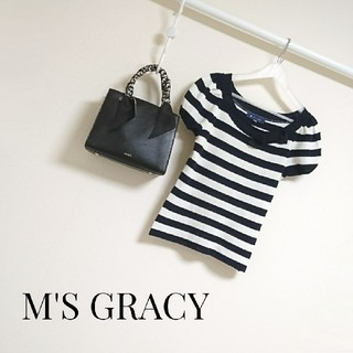 M'S GRACY - M'S GRACY ボーダーリボンサマーニット