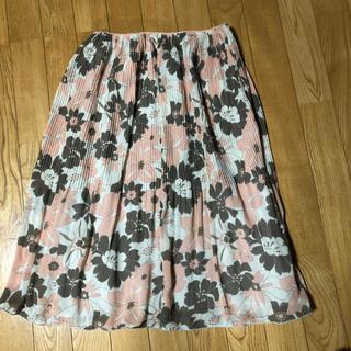 新品 花柄プリーツスカート(白)(ひざ丈スカート)