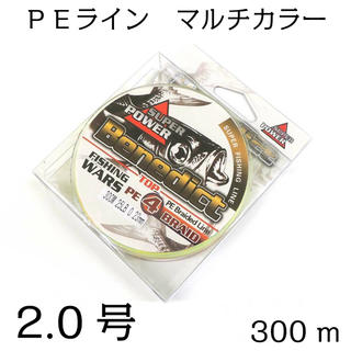 PEライン 4編 2号  300mマルチカラー 5色(釣り糸/ライン)