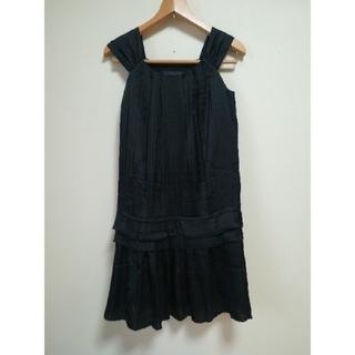 ロートレアモン(LAUTREAMONT)のロートレアモン ワンピース ドレス 黒 ノースリーブ プリーツ(ミニドレス)