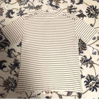 ザラ(ZARA)のザラ ボーダー Tシャツ スタッズ  ハイネック 春 夏 カットソー(カットソー(半袖/袖なし))