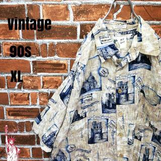 【90s】【デザイン古着】ビッグサイズ☆レーヨン アロハシャツ オープンシャツ(シャツ)
