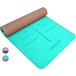ブルーグリーン ヨガマット エクササイズマット 厚さ 6mm TPEエコ素材  (ヨガ)