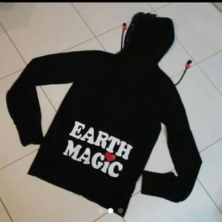 アースマジック(EARTHMAGIC)のアースマジック☆黒×赤ハートパーカー160(ジャケット/上着)