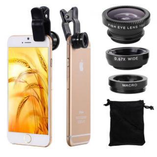 セルカレンズ 3種類 ポーチ クリップ付 ブラック 広角レンズ 魚眼レンズ 接写(自撮り棒)