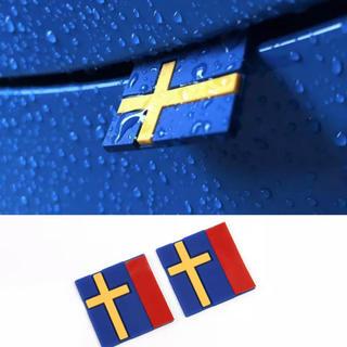 ボルボ(Volvo)の2個セット スウェーデンフラッグ デコレーションエンブレム VOLVO IKEA(車外アクセサリ)
