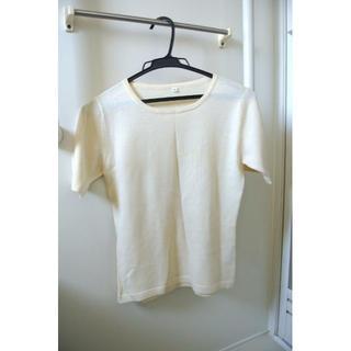 半袖 クルーネック カットソー ウール100% クリーム色(Tシャツ(半袖/袖なし))