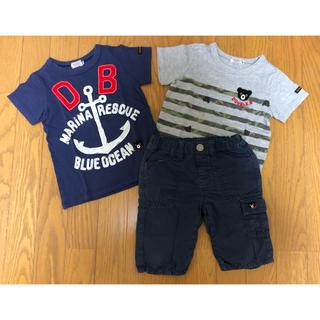 ダブルビー(DOUBLE.B)のミキハウス ダブルビー 半袖シャツ2枚、ハーフパンツ(100)(Tシャツ/カットソー)