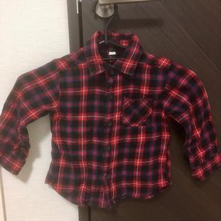 ニシマツヤ(西松屋)の子供服 チェックシャツ ネルシャツ 西松屋 サイズ90 男女兼用古着男の子女の子(Tシャツ/カットソー)