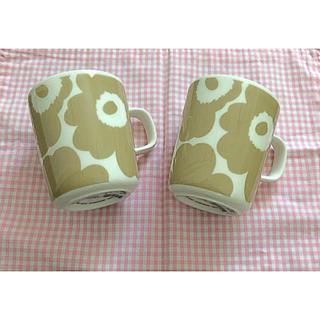 marimekko - マリメッコ  マグカップ2個 ホワイト×ベージュの人気色