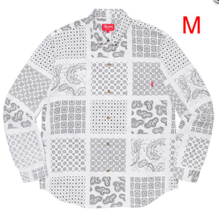 Supreme - 新品 M Supreme Paisley Grid Shirt White
