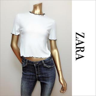 ザラ(ZARA)のZARA プチフリル カットソー リブ♡ベルシュカ H&M マウジー SLY(カットソー(半袖/袖なし))