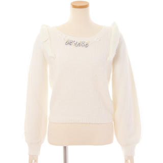 リズリサ(LIZ LISA)のlizlisa リズリサ フリル ビジュー ホワイト 白 もこもこ ニット ♡ (ニット/セーター)