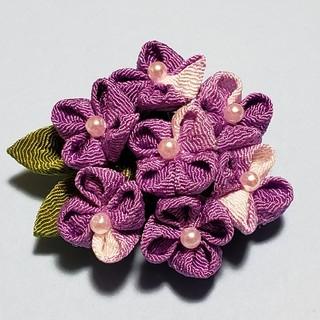 つまみ細工 ブローチ 紫陽花 紫(コサージュ/ブローチ)