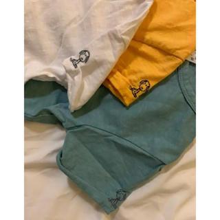 新品 スヌーピー  刺繍 Tシャツ オレンジ 80cm(Tシャツ)