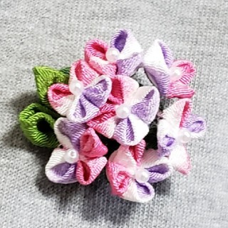 つまみ細工 ブローチ 紫陽花 ピンク(コサージュ/ブローチ)