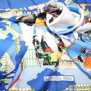 エルメス(Hermes)のエルメス スカーフ タグ付きシルク Fereadelevlla ブルー(バンダナ/スカーフ)