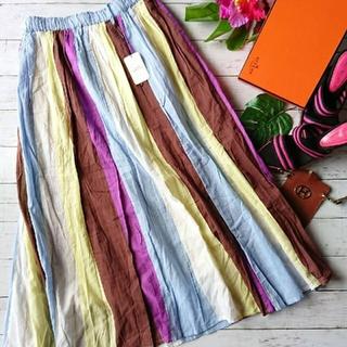 新品!タグ付き!hunch☆カラフルパッチワーク風ストライプ☆薄手ロングスカート(ロングスカート)