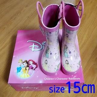 ディズニー(Disney)の【新品・タグ付き・箱付き】ディズニー プリンセス レインブーツ 15㎝ ピンク(長靴/レインシューズ)