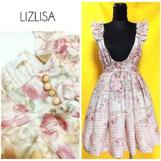 リズリサ(LIZ LISA)のリズリサ ローズ柄 ジャンパースカート ワンピース 花柄 レディース(ミニワンピース)