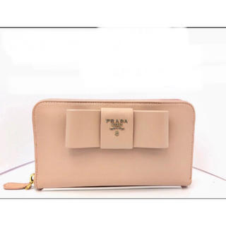 プラダ(PRADA)の美品  PRADA プラダ 長財布 サフィアーノ 薄ピンク 可愛い(財布)