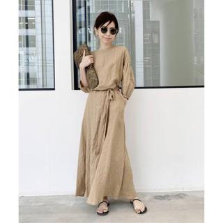 アパルトモンドゥーズィエムクラス(L'Appartement DEUXIEME CLASSE)のLinen Madam Dress (ベージュ)(ロングワンピース/マキシワンピース)