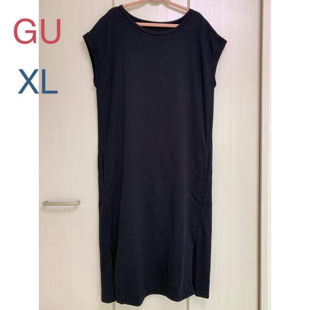 GU(ジーユー)の★gu ロングTワンピ スウェット 黒 XL レディースのワンピース(ロングワンピース/マキシワンピース)の商品写真